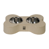 Beige Mock-Croc Bone Shaped Feeding Bowl