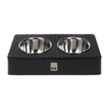 Rectangular Black Crocodile Double Bowl