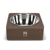 Brown Leather Square Feeding Bowl