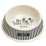 Striped Cream Dog Bowl