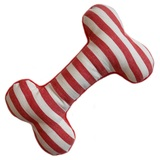 Red/White Striped Fleece Bone Toy
